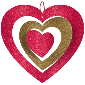 Picture of DECOR - GLITTER SPINNING RED HEART HANGING DECORATION