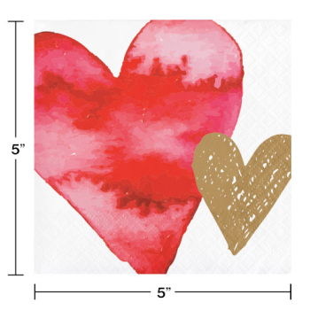 Picture of TABLEWARE - WATERCOLOR HEARTS BEVERAGE NAPKINS