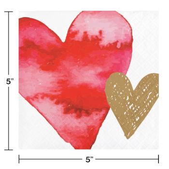 Image de TABLEWARE - WATERCOLOR HEARTS BEVERAGE NAPKINS