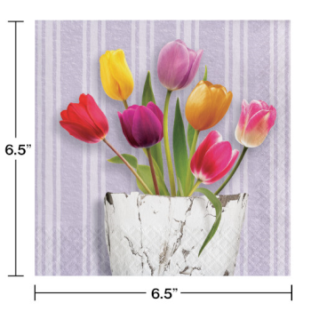 Picture of TABLEWARE - SPRINGTIME TULIPS LUNCHEON NAPKINS