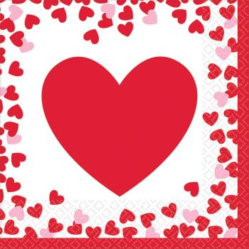 Picture of TABLEWARE - CONFETTI HEARTS BEVERAGE NAPKINS