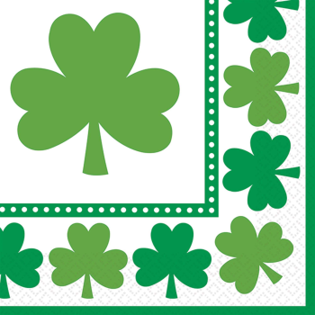 Picture of TABLEWARE - LUCKY SHAMROCKS BEVERAGE NAPKINS