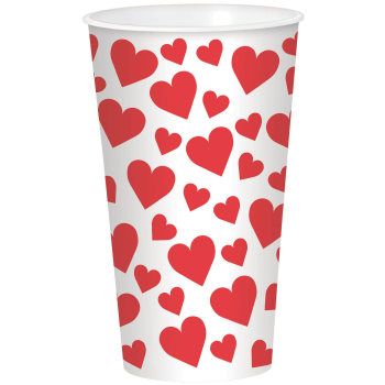 Picture of TABLEWARE - 32oz RED HEARTS PASTIC CUP