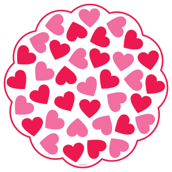 Picture of TABLEWARE - DOILIES PRINTED RED AND PINK HEART