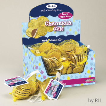 Picture of DECOR - LARGE BAG OF CHANUKAH GELT MILK CHOCOLATE COINS