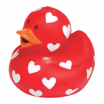 Picture of DECOR - VALENTINE RUBBER DUCKIE - HEART PRINT
