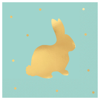 Picture of TABLEWARE - BUNNY HOT STAMPED BEVERAGE NAPKINS