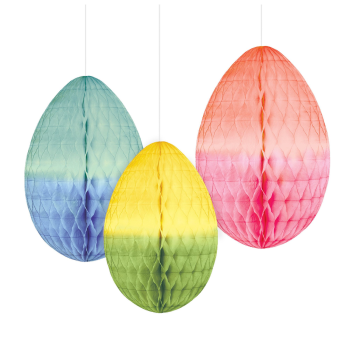 Picture of DECOR - HONEYCOMB OMBRE EGGS HANGING DECORATION