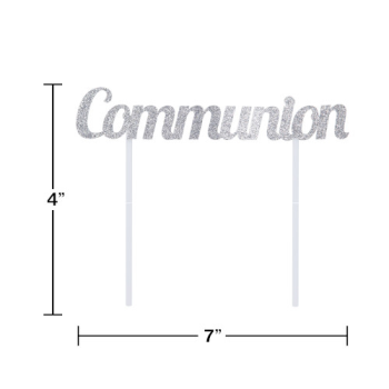 Picture of DECOR - COMMUNION SILVER GLITTER CAKE TOPPER
