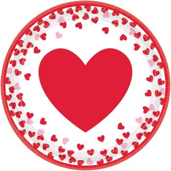 """Picture of TABLEWARE - CONFETTI HEARTS - 7"""" ROUND PLATES"""