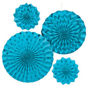 Picture of CARIBBEAN BLUE  PAPER FANS - ASSORTED SIZES