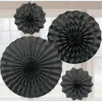 Picture of BLACK PAPER FANS - ASSORTED SIZES