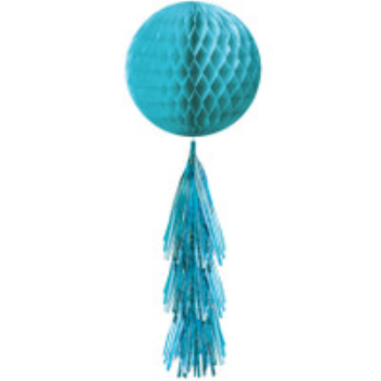 Picture of CARIBBEAN BLUE HONEYCOMB BALL WITH TASSEL