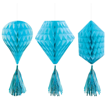 Picture of CARIBBEAN BLUE MINI HONEYCOMB HANGING SHAPES