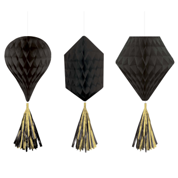 Picture of BLACK MINI HONEYCOMB HANGING SHAPES