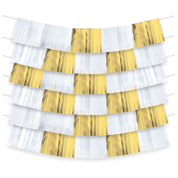 Picture of GOLD AND WHITE FOIL FRINGE BACKDROP