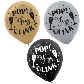 "Picture of 12"" POP FIZZ CLINK PRINTED LATEX BALLOONS - BLACK, GOLD, SILVER"