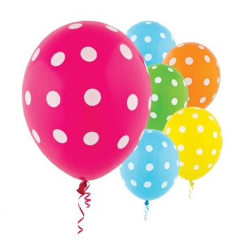 "Picture of 12"" POLKA DOT BALLOONS ASSORTED - 20/PKG"