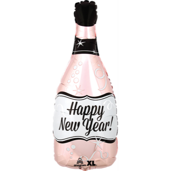 Picture of 18'' FOIL - HAPPY NEW YEAR BOTTLE ROSE GOLD JUNIOR SHAPE