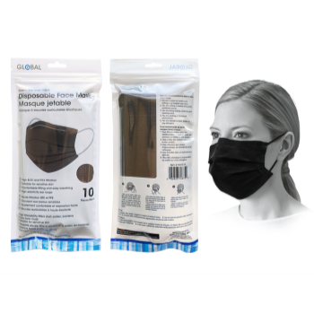 Image de MASKS - DISPOSABLE FACE MASKS - 10/PKG BLACK