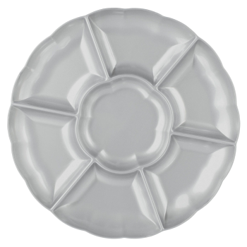 "Image de SERVING WARE - TRAY 16"" CHIP AND DIP - SILVER"