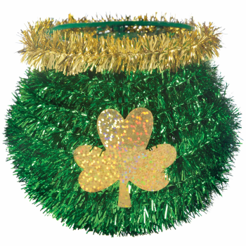 Picture of DECOR - MINI TINSEL GREEN CAULDRON