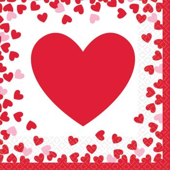 Picture of TABLEWARE - CONFETTI HEARTS LUNCHEON NAPKINS