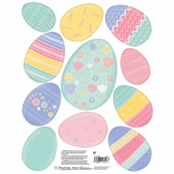 Picture of DECOR - EASTER EGGS GLITTER WINDOW DECORATIONS