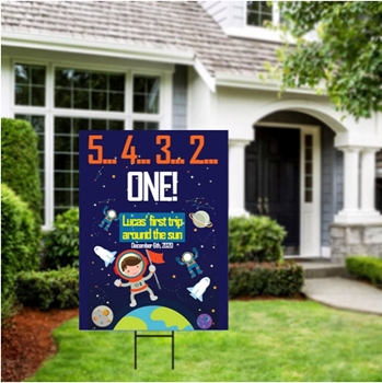 Picture of LAWN YARD SIGN - ANY BIRTHDAY - SPACE PERSONALIZED