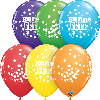 "Picture of HELIUM FILLED SINGLE 11"" BALLOON - PRINTED - BONNE FÊTE - DOTS"