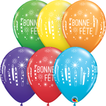 "Picture of HELIUM FILLED SINGLE 11"" BALLOON - PRINTED - BONNE FÊTE - CHANDELLES"
