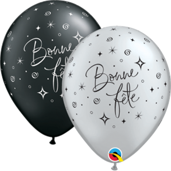 "Picture of HELIUM FILLED SINGLE 11"" BALLOON - PRINTED - BONNE FÊTE - NOIR ou ARGENT"