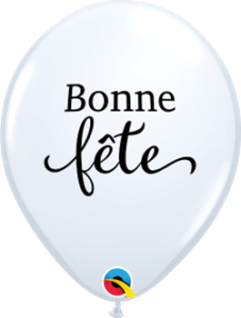 "Picture of HELIUM FILLED SINGLE 11"" BALLOON - PRINTED - BONNE FÊTE - SIMPLEMENT BLANC"