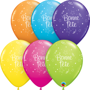 "Picture of HELIUM FILLED SINGLE 11"" BALLOON - PRINTED - BONNE FÊTE - ÉTOILES BRILLANTES"