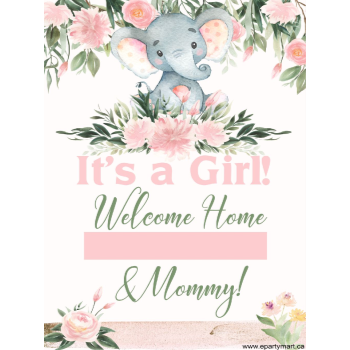 "Picture of LAWN YARD SIGN - BABY SHOWER - ""WRITE A NAME"" PINK"