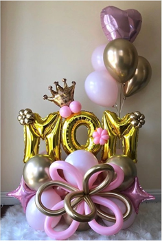 "Image de 1 MARQUEE ARRANGEMENT MOM - 16"" LETTERS / MINI SHAPES / 5 HELIUM BALLOONS"