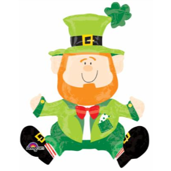"""Picture of 24"""" TABLETOP - SITTING LEPRECHAUN FOIL BALLOON - AIRFILLED"""