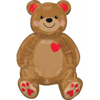 """Picture of 24"""" TABLETOP - SITTING TEDDY FOIL BALLOON - AIR FILLED"""
