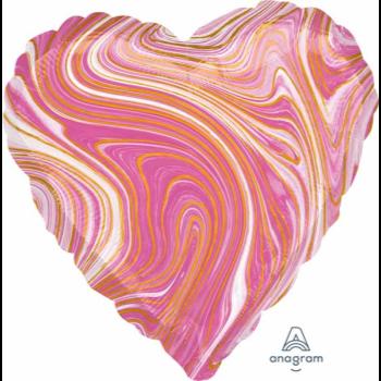 """Image de 18"""" FOIL - PINK MARBLE HEART"""