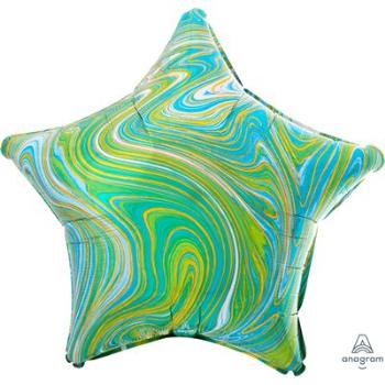 "Image de 18"" FOIL - BLUE GREEN MARBLE STAR"