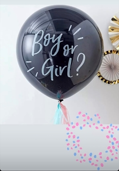 "Image de GENDER REVEAL - 24"" BLACK LATEX PRINTED OR NOT - FILLED WITH CONFETTI"