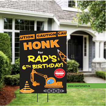 Picture of LAWN YARD SIGN - ANY BIRTHDAY - CONSTRUCTION PERSONALIZED