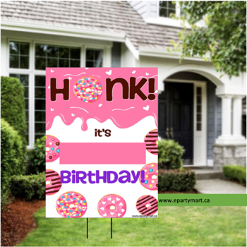 "Picture of LAWN YARD SIGN - ANY BIRTHDAY - DONUT ""WRITE A NAME"""
