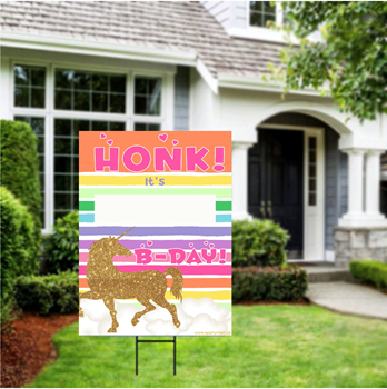 "Picture of LAWN YARD SIGN - ANY BIRTHDAY - UNICORN ""WRITE A NAME"""