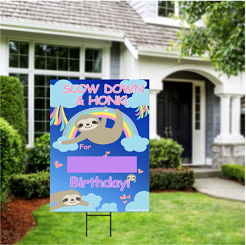 "Picture of LAWN YARD SIGN - ANY BIRTHDAY - SLOTH ""WRITE A NAME"""