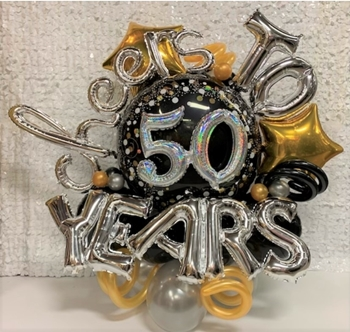 "Picture of 50th - 48"" MARQUEE - JUMBO FOIL ROUND WITH 7 AIR FILLED LETTERS ARRANGEMENT"
