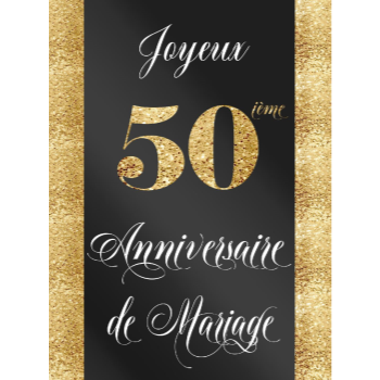 Picture of LAWN YARD SIGN - WEDDING ANNIVERSARY 50TH - FRENCH
