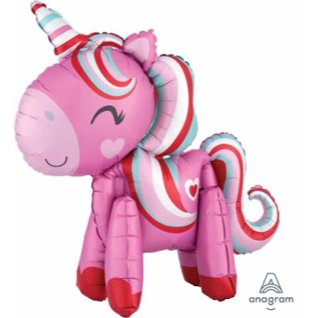 """Picture of 22"""" TABLETOP - STANDING UNICORN LOVE FOIL BALLOON - AIR FILLED"""