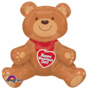 """Picture of 24"""" TABLETOP - SITTING VALENTINE BEAR FOIL BALLOON - AIRFILLED"""