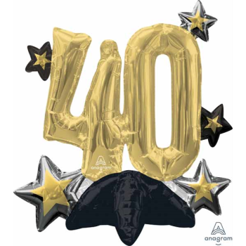 """Image de 24"""" TABLETOP - 40TH CELEBRATE  FOIL BALLOON - AIR FILLED"""
